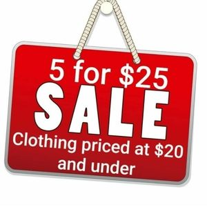 Clothing sale 5 for $25